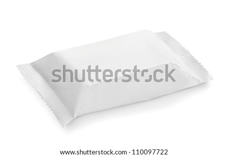 white potato chips blank package on white background