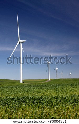 White power generating wind turbines on field of green wheat.