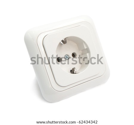 White Power Outlet and socket isolated