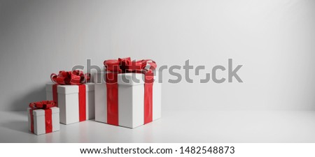 white presents for christmas or birthday 3d-illustration