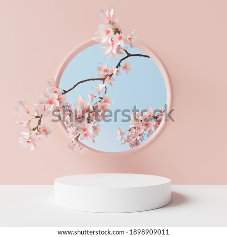 White product display podium with blossom flowers on pink background. 3D rendering