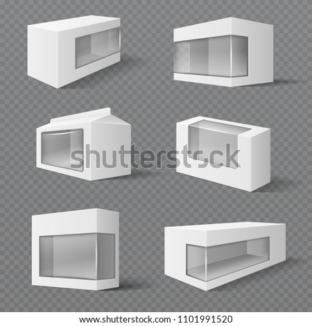 White product packaging boxes. Gift packages with transparent window. mockups isolated. Illustration of package box container with transparent window