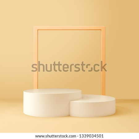 White Product Stand, Light Yellow Color, Square Frame. 3D Rendering