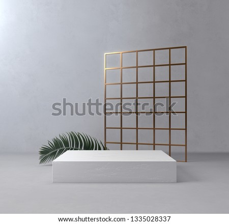 White Product Stand, Palm Leaf, Golden Frame, Luxury Concept. 3D Rendering