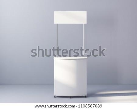 White promo table 3d rendering