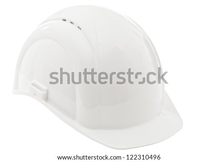 White protective industrial hardhat isolated on white background