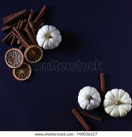 White pumpkins, oranges and cinnamon on an ink background. #740036227