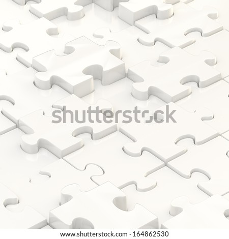 White puzzle pieces covered surface as an abstract background composition