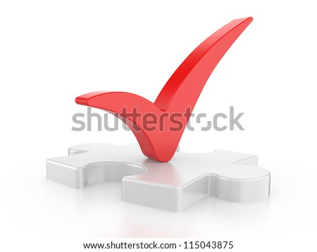 white puzzle with a red check  mark on a white background