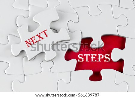 White puzzle with void in the middle when one piece of the puzzle is taken out with text written Next Steps