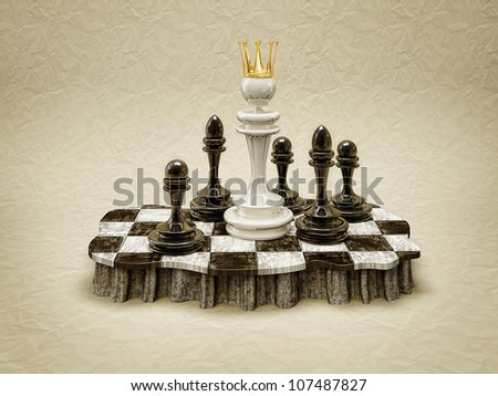 white queen standing in a chess board