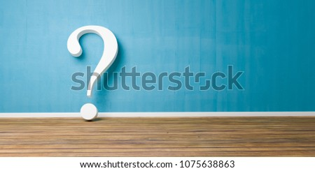 White question mark at blue concrete grunge Wall - FAQ Concept - 3D rendering