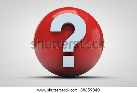 white question mark on a red sphere
