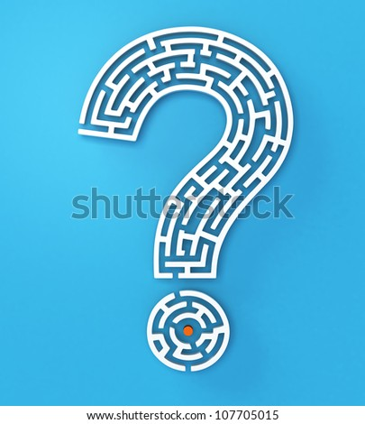 white question mark on light blue background