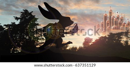 White rabbit silhouette with queen of hearts  palace in background