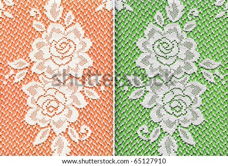 White Real Lace Floral Rose Fabric Background Set
