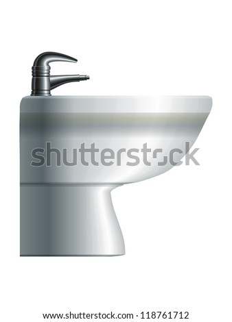 White realistic ceramic bidet. Side view. Raster version of the vector image