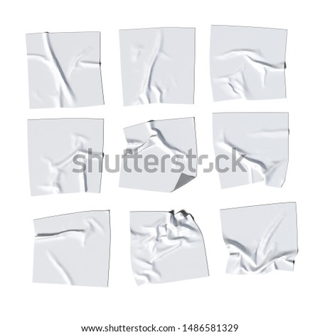 White realistic cloth or paper on White background, 3d rendering. Blank white poster empty space. Copy space.
