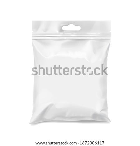 White realistic Polyethylene bag with Hang Slot. Mock up for brand template.  3D illustration  Сток-фото ©