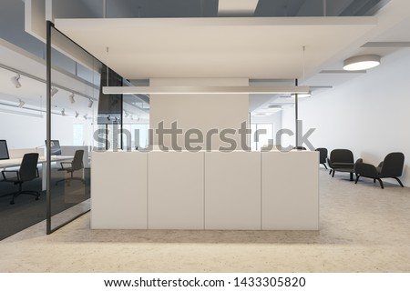 White reception table standing in modern open space office with white and glass walls and waiting area with armchairs and coffee table. 3d rendering
