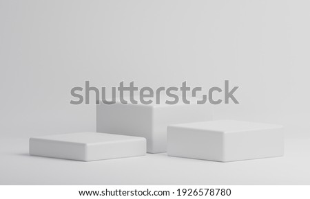 White rectangle cube product showcase table on isolate background. Abstract minimal geometry concept. Studio podium platform. Exhibition and business presentation stage. 3D illustration render graphic Foto stock ©