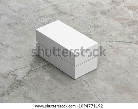 White rectangular Box packaging Mockup, 3d rendering