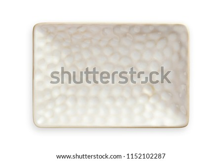 White rectangular plate with rough pattern, Empty ceramic plate in rectangular shape, View from above isolated on white background with clipping path