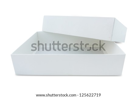 white recycle paper box isolated with clipping path