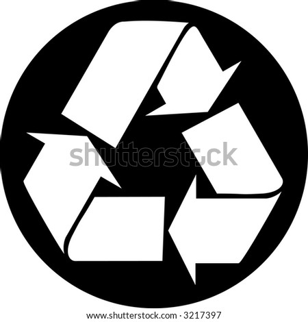 Recycle Symbol Circle White Recycle Symbol in Black