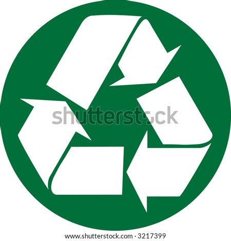 Recycle Symbol Circle White Recycle Symbol in Green