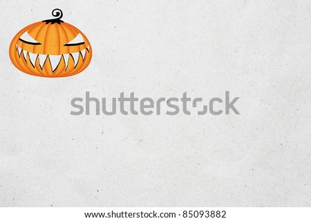 white recycled paper with halloween pumpkin face