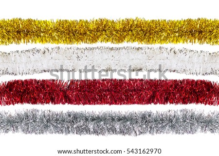 White, red, golden, silver Christmas tinsels isolated #543162970