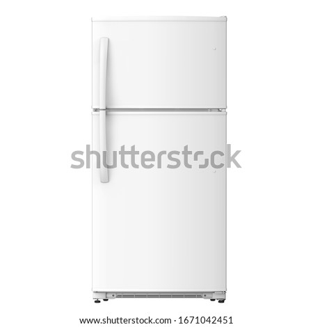 White Refrigerator Isolated on White Background. Modern Top Mount Fridge Freezer. Electric Kitchen and Domestic Major Appliances. Front View of Two Door Top-Freezer Fridge Freezer