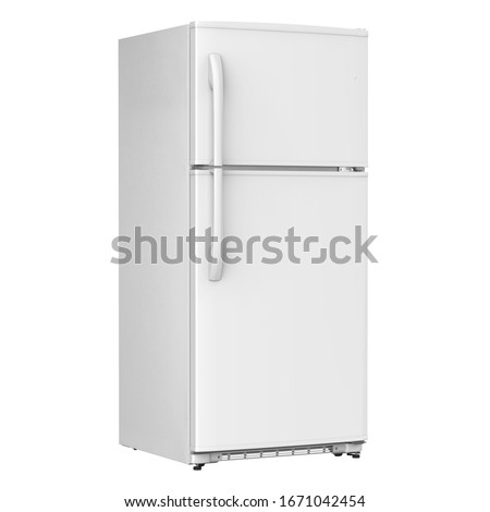 White Refrigerator Isolated on White Background. Modern Top Mount Fridge Freezer. Electric Kitchen and Domestic Major Appliances. Front Side View of Two Door Top-Freezer Fridge Freezer