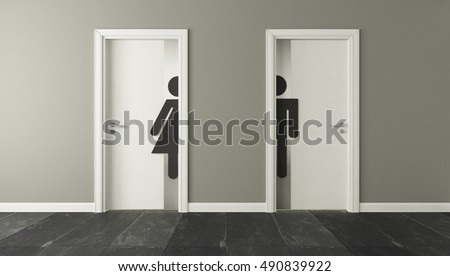white restroom doors with wall 3D design and rendering for your project by Sedat SEVEN