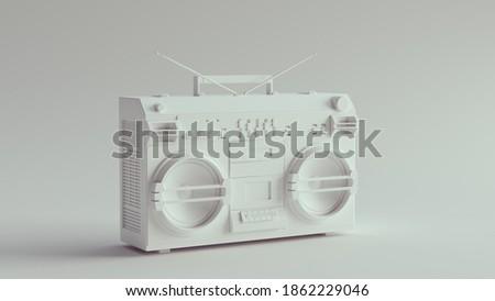 White Retro Boombox Stereo 3d illustration render Сток-фото ©
