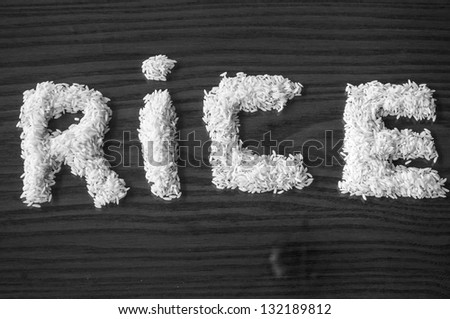 white rice forming a sign