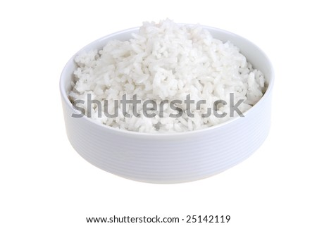 white rice in white bowl isolated