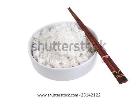 white rice inside bowl with china sticks - stock photo