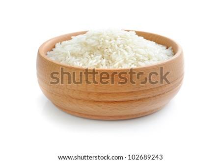 White rice on wooden bowl