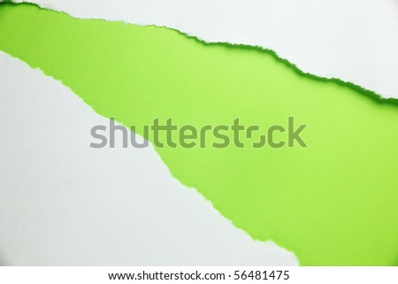 white ripped paper with color background