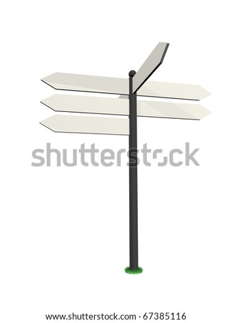 white road sign in a white background