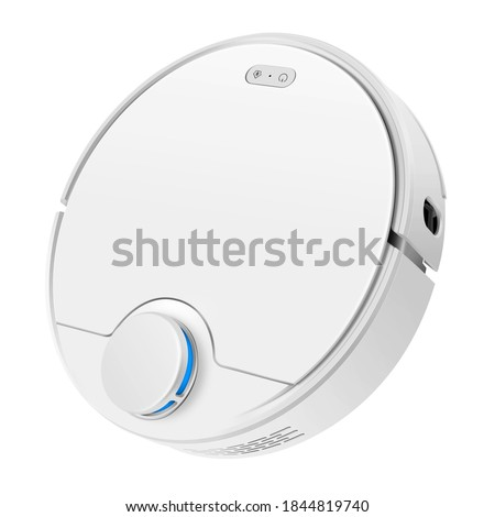 White Robot Vacuum Isolated on White. Front Side View Modern Autonomous Smart Robotic Vacuum Cleaner Roomba. Self-Drive Cleaning Robot. Floor Cleaning System. Small Household & Domestic Appliances