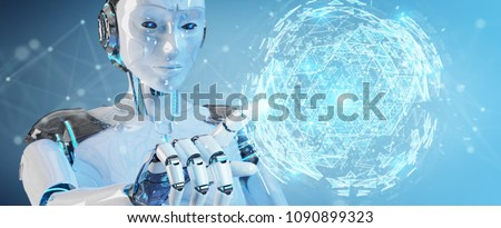 White robot woman on blurred background using digital triangle exploding sphere hologram 3D rendering