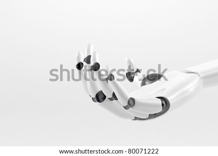 White Robotic hand isolated on a white background