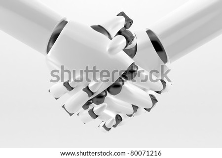 White Robotic handshake isolated on a white background