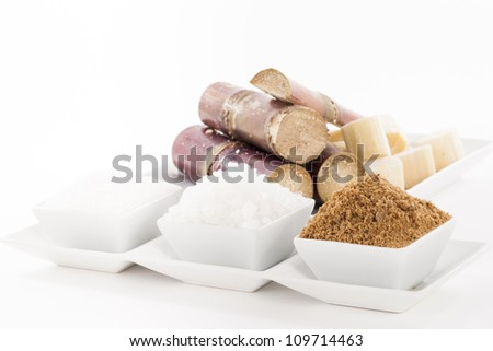 White, Rock, Brown Sugar in bowl and sugar cane