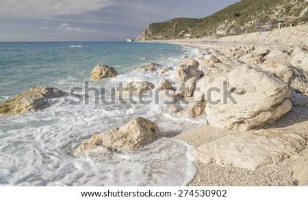 white rocks, sea background, waves - Kathisma beach, Lefkada island Greece