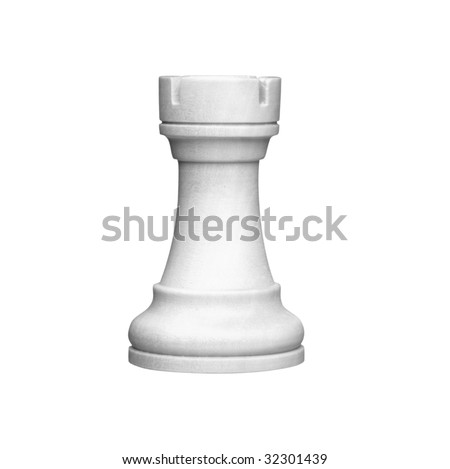 white rook chess figure  (+clipping path, high resolution)