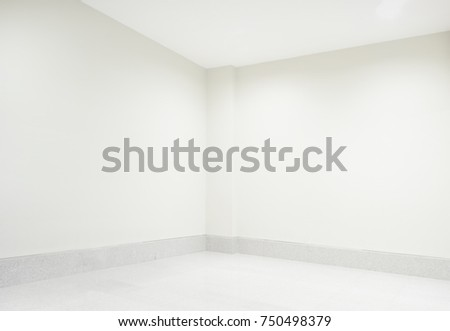 White room corner with light from spotlight shine on showcase blank  billboard, empty room wall and floor interior background, empty space